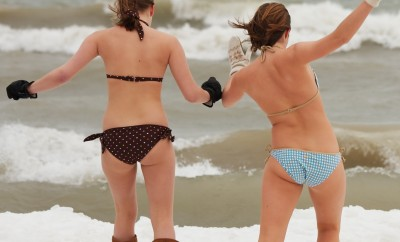 Two Brave Girls headed into January Waters of Lake Michigan